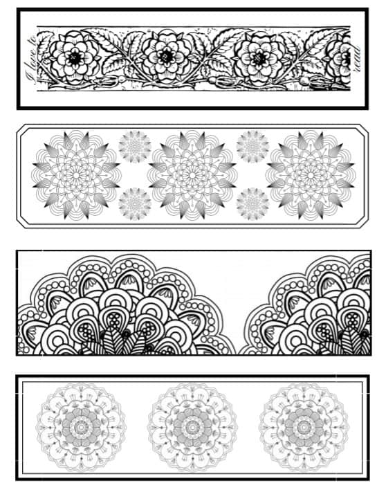 25 Free Printable Adult Coloring Bookmarks