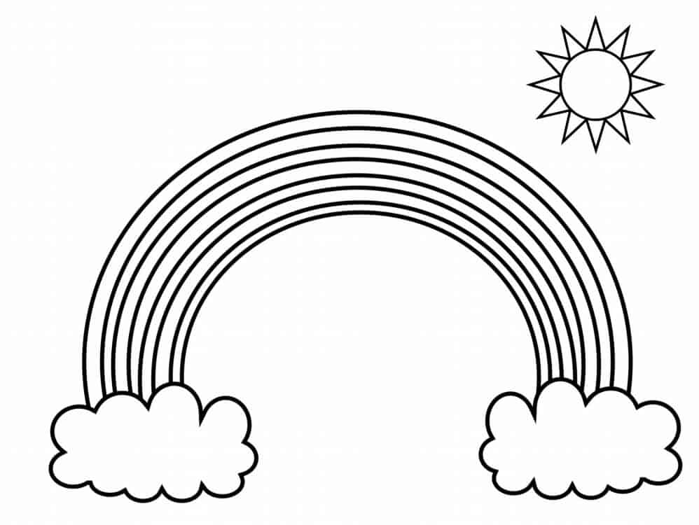 Large Rainbow With Clouds And Sun Printable Coloring Page -