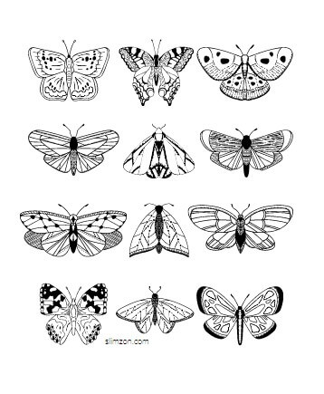Free Printable Small Butterflies Coloring Pages